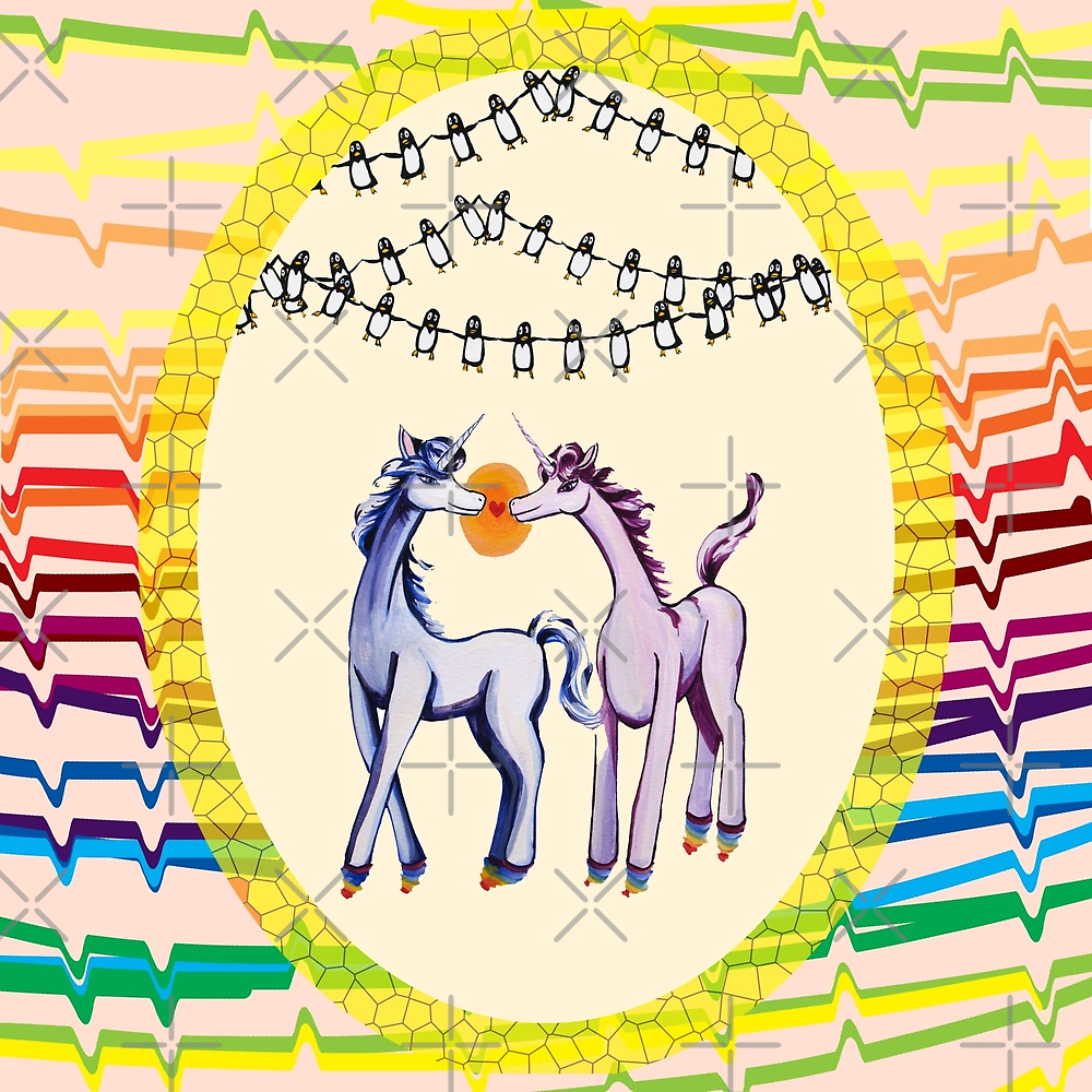 Feeling 13 again~ Unicorns in love with penguins by Jean Rim