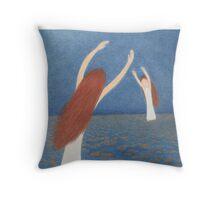 Blue Bridge: Mother, Child,Sea and Moon Throw Pillow
