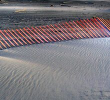 Sunset on a fence at the beach by Jeffrey  Sinnock