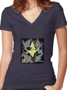 The Golden Crane Women's Fitted V-Neck T-Shirt