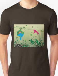 Pink and Blue pigeons Unisex T-Shirt