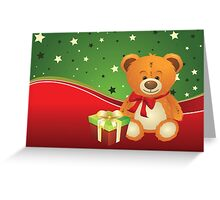 Teddy Bear with Gift Box 3 Greeting Card