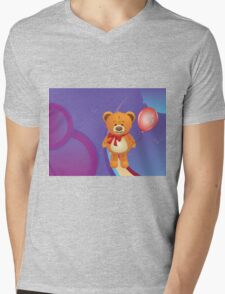 Teddy Bear with Red Bow Mens V-Neck T-Shirt