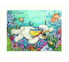 Pooky Snorkelling and having a chat with Mr yellowfish Art Print