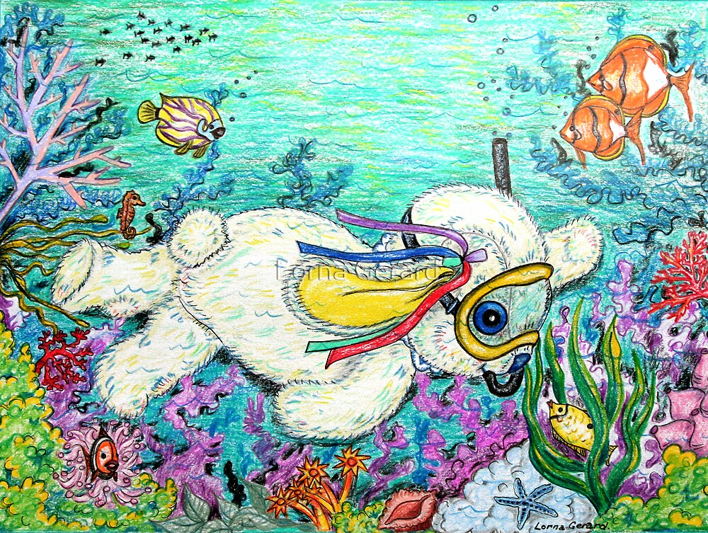 Pooky Snorkelling and having a chat with Mr yellowfish by Lorna Gerard