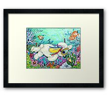 Pooky Snorkelling and having a chat with Mr yellowfish Framed Print