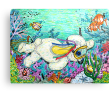 Pooky Snorkelling and having a chat with Mr yellowfish Canvas Print