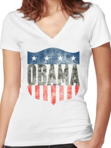 obama : stars & stripes Women's Fitted V-Neck T-Shirt