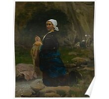 Jules Breton Washerwoman in Brittany 1865 Poster