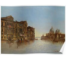 Karl Kaufmann 1843-1905 Scene of Venice with a View of the Santa Maria della Salute Poster