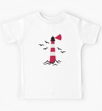Lighthouse waves birds Kids Tee
