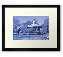 Music Kiosk in the snow - in blue Framed Print