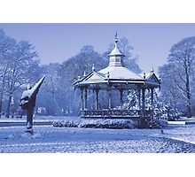 Music Kiosk in the snow - in blue Photographic Print