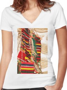 Traditional Bulgarian Knitting Women's Fitted V-Neck T-Shirt