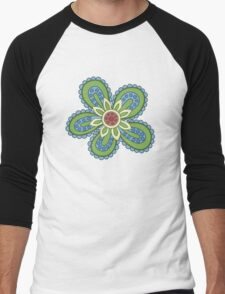 Blue and Green Cartoon Flower Men's Baseball ¾ T-Shirt