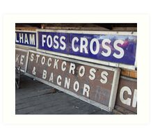 GWR station signs, Didcot Railway Centre Art Print