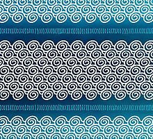 Abstract Ocean Waves Blue and White Pattern by sundressed