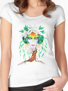 Willow tree. Forest dryad Women's Fitted Scoop T-Shirt