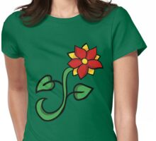 Red floral Womens Fitted T-Shirt