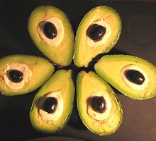Avocado with black olives by rustumlongpig