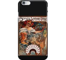 'Biscuits Lefevre-Utile' by Alphonse Mucha (Reproduction) iPhone Case/Skin