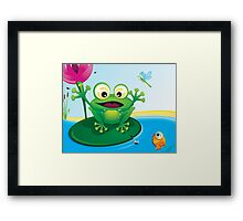 Critterz-Frog-Giggles in the Pond Framed Print