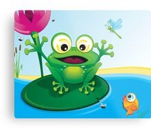 Critterz-Frog-Giggles in the Pond Metal Print