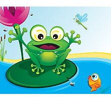 Critterz-Frog-Giggles in the Pond Photographic Print
