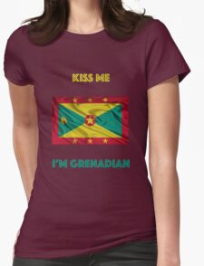 Kiss Me I'm Grenadian Womens Fitted T-Shirt