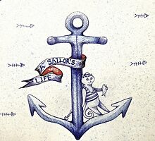 A sailors life for me, cat & anchor  by melaniedann