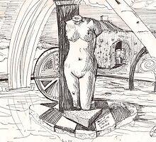 APRODITE(C1996)(INK PEN DRAWING) by Paul Romanowski