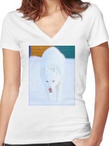 White As Snow Women's Fitted V-Neck T-Shirt