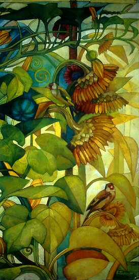 goldfinches by elisabetta trevisan