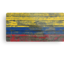 Flag of Colombia on Rough Wood Boards Effect Metal Print