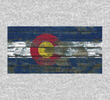 Flag of Colorado on Rough Wood Boards Effect One Piece - Short Sleeve