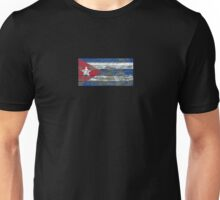 Flag of Cuba on Rough Wood Boards Effect Unisex T-Shirt