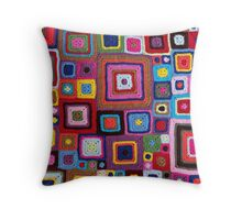 cozy crochet Throw Pillow