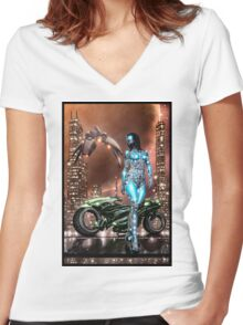 Cyberpunk Painting 047 Women's Fitted V-Neck T-Shirt