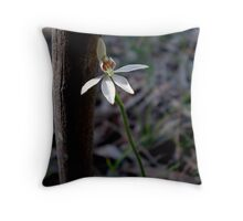 Calandenia alba, White Finger Orchid. Throw Pillow