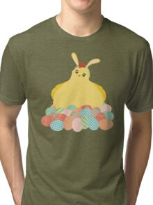 Cute chicken Easter bunny ears decorated eggs Tri-blend T-Shirt