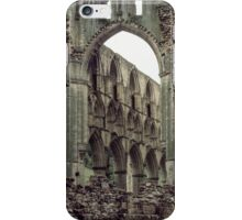 Looking over wall ruins through crossing arch to east end church of Abbey Rievaulx North Yorkshire England 198406020055 iPhone Case/Skin