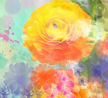 Painterly flowers in vivid summer colors by walstraasart