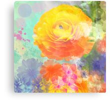 Painterly flowers in vivid summer colors Canvas Print