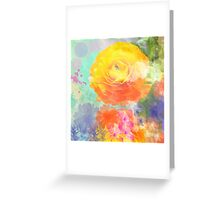 Painterly flowers in vivid summer colors Greeting Card