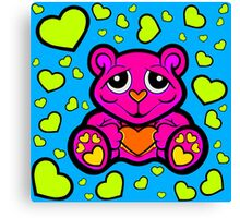 Love Teddy Bear Pink and Lime Green  Canvas Print
