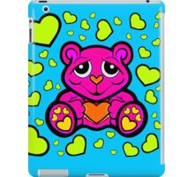 Love Teddy Bear Pink and Lime Green  iPad Case/Skin