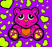 Love Teddy Bear Pink and Lime Green  by Sookiesooker