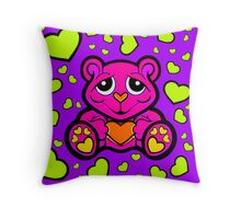 Love Teddy Bear Pink and Lime Green  Throw Pillow