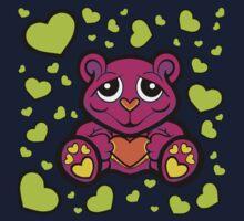 Love Teddy Bear Pink and Lime Green  Kids Tee