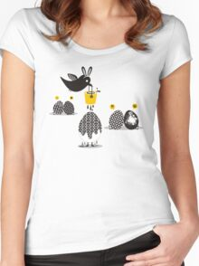 Cute bird Easter bunny ears painting eggs Women's Fitted Scoop T-Shirt